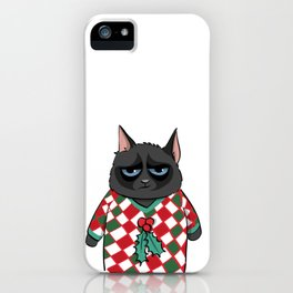 Black Cat in Christmas Sweater 06 iPhone Case