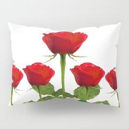 ORIGINAL GARDEN DESIGN OF RED ROSES ON WHITE Pillow Sham