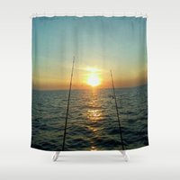 fishing Shower Curtains featuring FISHING by aztosaha