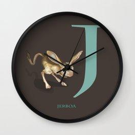 J is for Jerboa: Under Appreciated Animals™ ABC nursery decor dark grey unusual animals Wall Clock