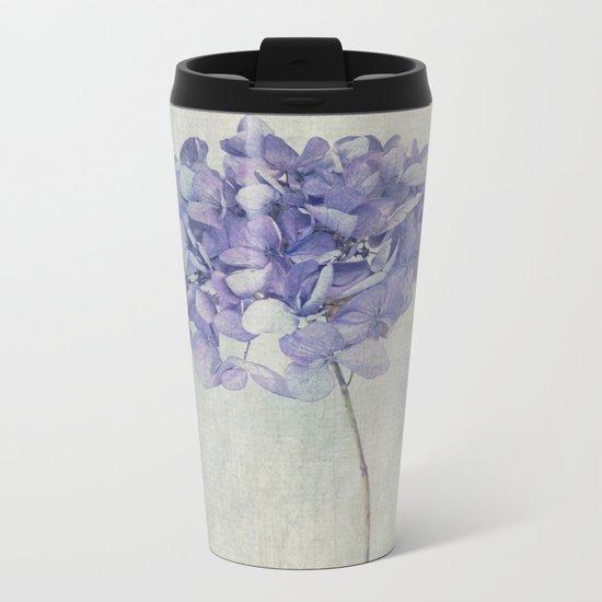 Beautiful Blue Hydrangea Metal Travel Mug