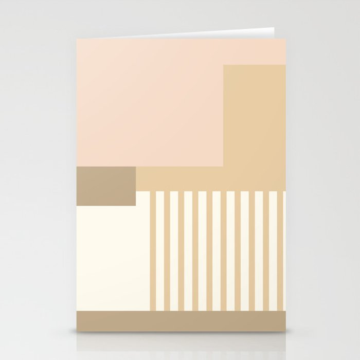 Sol Abstract Geometric Print in Tan Stationery Cards