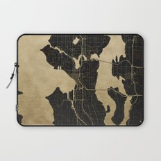 Seattle Black and Gold Map Laptop Sleeve