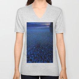 'Duckweed in Lake in Blue Twilight' landscape painting by K. Yamashita Unisex V-Neck