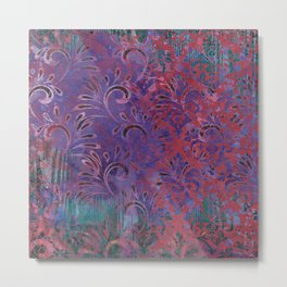 Abstract Pattern:  Watercolor Deep Tones Fancy Prints Pink and Purple Metal Print