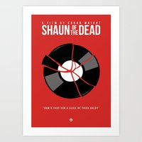 shaun of the dead Art Prints featuring Shaun of the Dead - Record by Nick Kemp