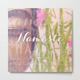 Namaste Buddha & Flowers Typography Collage Metal Print