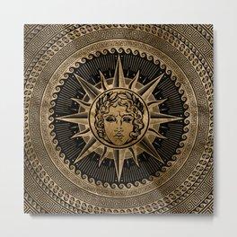 Golden Apollo Sun God on Greek Key Ornament Metal Print
