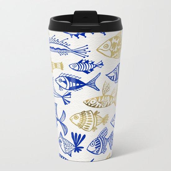 Inked Fish – Navy & Gold Metal Travel Mug