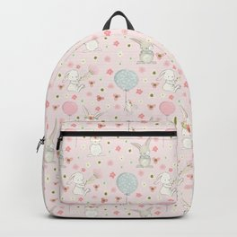 Easter bunnies and balloons - pink Backpack
