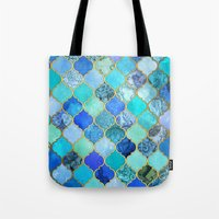 indigo Tote Bags featuring Cobalt Blue, Aqua & Gold Decorative Moroccan Tile Pattern by micklyn