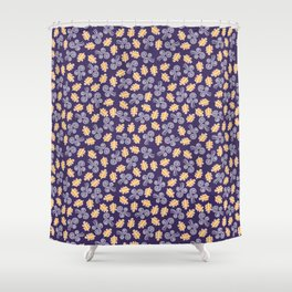 Gusts and Leaves Pattern (Blue) Shower Curtain