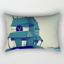 House on haunted hill vintage cartoon movie poster Rectangular Pillow