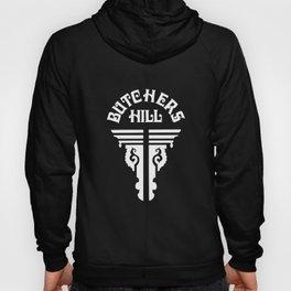 Butchers Hill Vertical Logo, White Hoody