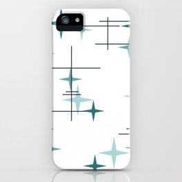 Mid Century Modern Stars (Teal) iPhone Case