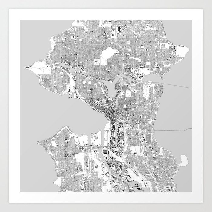 Seattle, Washington City Map, Black/White Art Print by heatherhartman