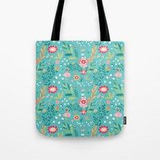 Teal Garden Hearts Tote Bag