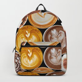 Latte Polka Dots in Black Backpack