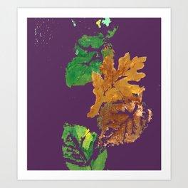 Four Autumn Leaves in brown gold green plum purple Art Print