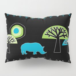 African Rhino (Cool colors) Pillow Sham