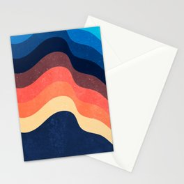 Retro 70s and 80s Color Palette Mid-Century Minimalist Abstract Art Waves Dark Mode Stationery Cards