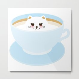 Cute Kawai cat in blue cup Metal Print