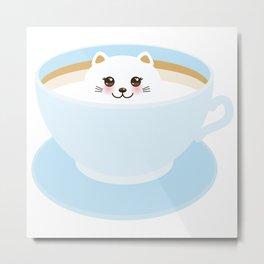Cute Kawai cat in blue cup Metal Print