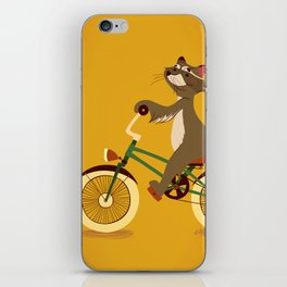 Raccoon on a bicycle iPhone Skin