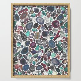 MIXED GEMSTONES ON WHITE Serving Tray