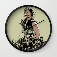 daryl dixon Wall Clocks featuring Daryl Dixon by Huebucket