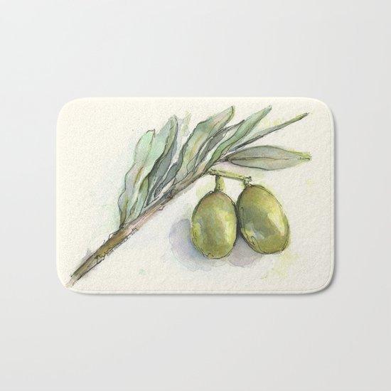 Olive Branch   Green Olives   Watercolor Illustration Bath Mat