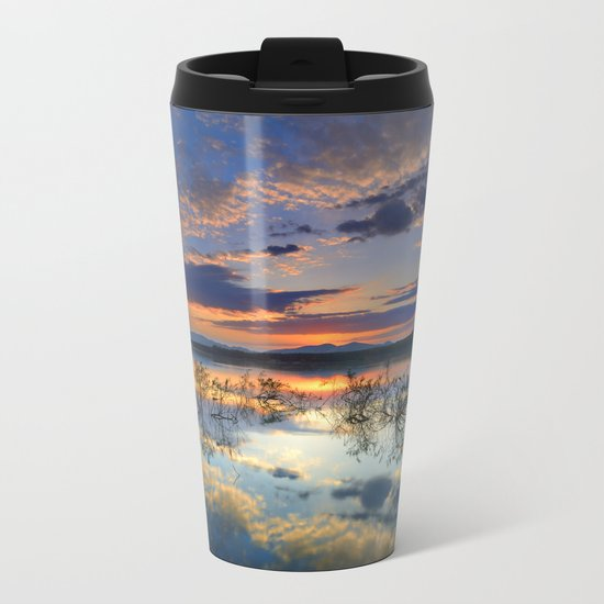 Magic reflections. Sunset at the lake Metal Travel Mug