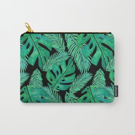 Tropical Monstera Leaf Pattern Black Carry-All Pouch