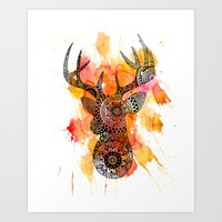 Deer Print | Black & white Animal Art | Original Illustration | Hand drawn Deer art | Wild Animal  Art Print