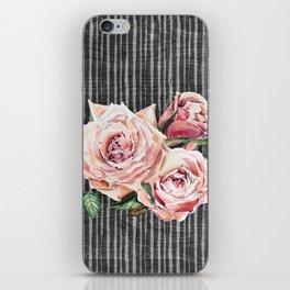 Watercolor Flowers on Dark Burned Wood iPhone Skin