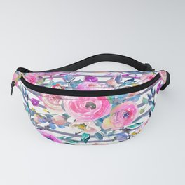 Pink mauve lilac hand painted watercolor roses floral stripes Fanny Pack
