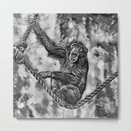 AnimalArtBW_Chimpanzee_20170901_by_JAMColorsSpecial Metal Print