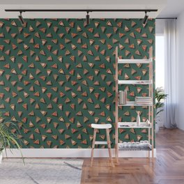 Pizza Party Pattern - Floating Pizza Slices on Teal Wall Mural