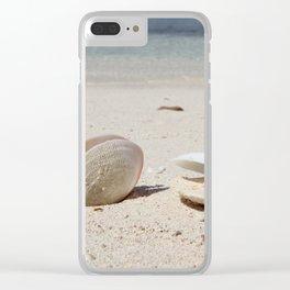 Seashells on sandy Caribbean beach Clear iPhone Case