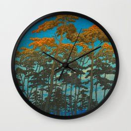 Vintage Japanese Woodblock Print Art Print Tall Sunset Trees Silhouette Twilight Forest East Asian Wall Clock