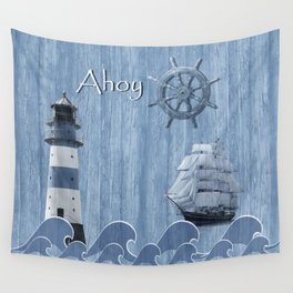 Ahoy - Maritime blue Wall Tapestry