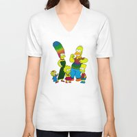 simpsons V-neck T-shirts featuring The Simpsons by Luna Portnoi
