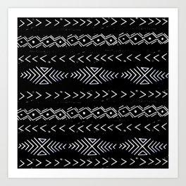 Mudcloth linocut design original black and white minimal inky texture pattern Art Print