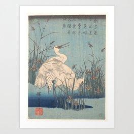 Egret in Iris and Grasses, Hiroshige Art Print