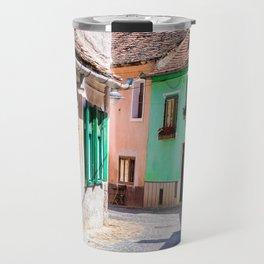 Multi Coloured Cottages Travel Mug
