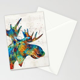 Colorful Moose Art - Confetti - By Sharon Cummings Stationery Cards