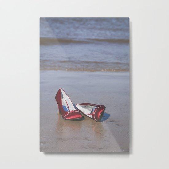 Red High-Heeled Shoes Metal Print