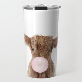Bubble Gum Highland Cow Baby Travel Mug
