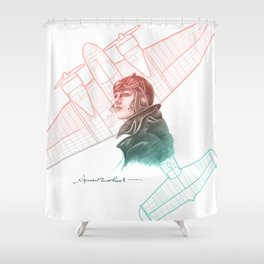 Amelia Earhart Courageous Adventurer Shower Curtain