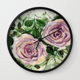 Rose garden, subtle flower art Wall Clock
